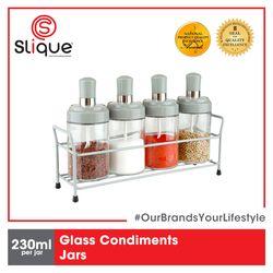 SLIQUE Premium Glass Condiments Container