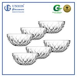 "UNION GLASS ThailandPremium Clear Glass Bowl 1600 ml - 8"" Set of 6"