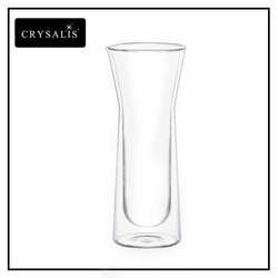 CRYSALIS Premium Clear Glass Carafe Double Wall 695ml  23.5oz Modern Italian Design Amazing Gift Idea For Any Occasion!