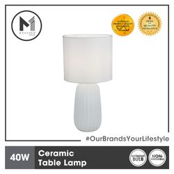 MODERNO Premium Ceramic Table Lamp 16 x 34 cm Modern Contemporary Design Amazing Display For Bedroom, Living Room, Study Room, and Office.
