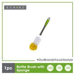 SCRUBZ Premium Bottle Brush with Sponge Cleaning Material 34 x 5 x 5 cm Made of PP Plastic