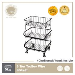 NEST DESIGN LAB Premium  Heavy duty  Durable 3 Tier Stackable Kitchen Trolley Wire Basket Metal 41.5 x 33 x 68 cm Black Amazing Gift Idea For Any Occasion!
