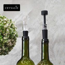 CRYSALIS Premium Wine Accessories Wine Lovers Vacuum Wine Stopper Wine Saver Preserves Wine, Wine Pourer No Spill Set of 2