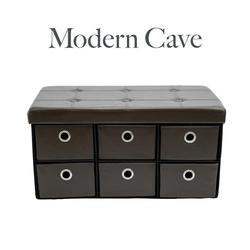 6 Drawer Ottoman Foldable Bench Chair Storage Box Organizer