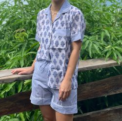 The57.ph Hand Block Print Polo and Shorts Lounge Set - PS-12