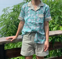 The57.ph Hand Block Print Polo and Shorts Lounge Set - PS-9