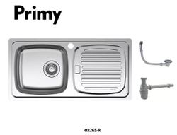 Primy 1 bowl with right drain-board inset kitchen sink 0326SR