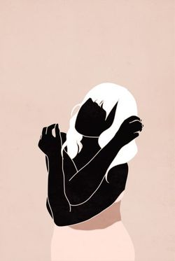 "MINIMAL BLACK WOMAN IN PINK TONE POSTER 8x11"""