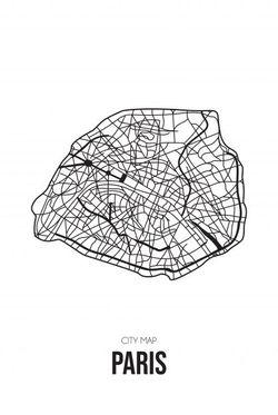 """PARIS MAP LINE ART POSTER 15x19"""""""