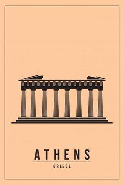 "MINIMAL ATHENS GREECE POSTER 24x36"""