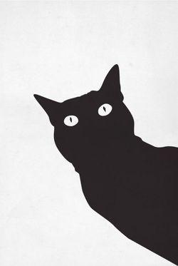 """BLACK STENCIL CAT POSTER 11x15"""""""