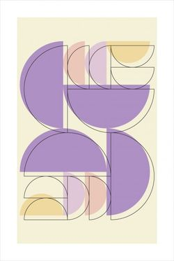 """VIOLET TONE HALF CIRCLE AND OUTLINE POSTER 24x36"""""""