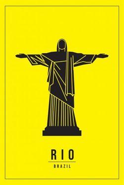 "MINIMAL RIO BRAZIL POSTER 24x36"""