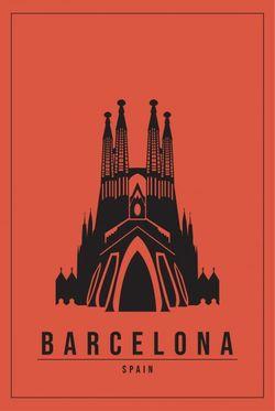 "MINIMAL BARCELONA SPAIN POSTER 24x36"""