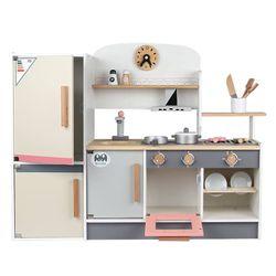 Wooden Pastel Pink & Gray Kitchen with Refrigerator