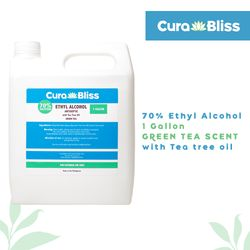 Curabliss 70% Ethyl Alcohol Green Tea scent with Tea tree oil 1 Gallon