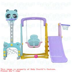 8 in 1 Panda Multifunction Slide Swing and Basketball Ring Playground for Kids Activity Center