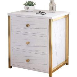 Elegant Marble Bedside Table Drawer 50x45x35cm