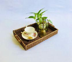 Manang.ph Dark Brown Rectangular tray with Wooden Handle