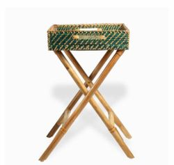 Manang.ph Large Dark Green and Natural Rattan Tray with Foldable Stand (BUTLER'S TRAY)
