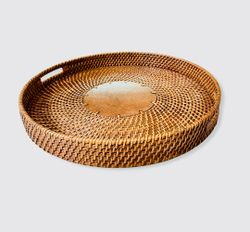 Manang.ph XL Round Rattan tray with Wood in the Center Accent
