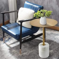 Leila Brass Side Table with Marble Base
