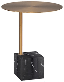 Capri Brass Side Table with Black Marble Base