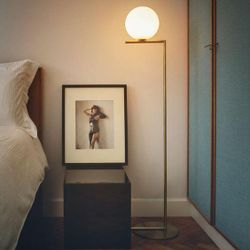 Salvi Frosted Glass (L) Gold Floor Lamp