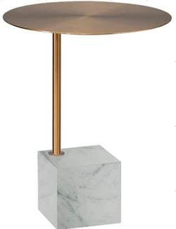 Capri Brass Side Table with White Marble Base