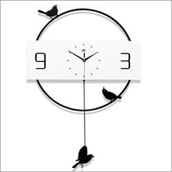 Metal Home Decorative Nordic Art Modern Wall Clock w/Pendulum