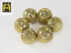 Harmony & Homes Balls - 8cm Gold Beaded Sequence Star Polyfoam Christmas Ball (3-Piece/Pvc) Set of 2