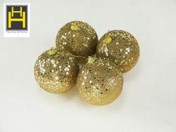 Harmony & Homes Balls - 10cm Gold Beaded Sequence Star Polyfoam Christmas Ball 2-Piece/Pvc Set of 2