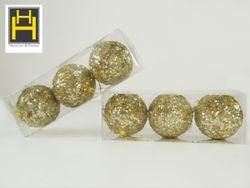 Harmony & Homes Balls - 8cm Gold Beaded Sequence Polyfoam Christmas Ball (3-Piece/Pvc) Set of 2