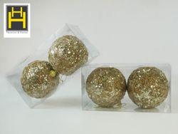 Harmony & Homes Balls - 10cm Beaded Sequence Polyfoam Christmas Ball (2-Piece/Pvc) Set of 2