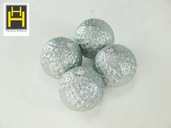 Harmony & Homes Balls - 10cm White Beaded Star Polyfoam Christmas Ball (2-Piece/Pvc) Set of 2
