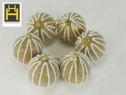 Harmony & Homes Balls - 8cm Christmas Balls w/ Acrylic Beads (Gold) (3-Piece/Pvc) Set of 2