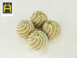Harmony & Homes Balls - 10cm Christmas Balls w/ Spiral Beads (Gold) (2-Piece/Pvc) Set of 2