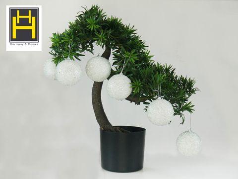 Christmas Balls - 8cm White Glittered Polyfoam Xmas Ball W/ Crystal Beads (3-Piece/Pvc) Set of 2