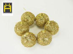 Harmony & Homes Balls - 8cm Gold Glittered Polyfoam Xmas Ball w/ Crystal Beads 3-Piece/Pvc Set of 2