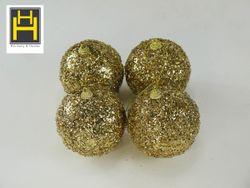 Harmony & Homes Balls - 10cm Gold Glittered Polyfoam Xmas Ball w/ Crystal Beads 2-Piece/Pvc Set of 2