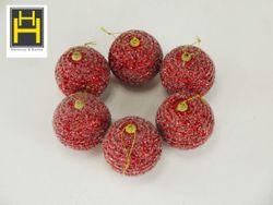 Harmony & Homes Balls 8cm Red Glittered Swirly Design Polyfoam Christmas Ball (3-Piece/Pvc) Set of 2
