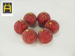 Harmony & Homes Balls - 8Cm Red Glittered W/ Beads Polyfoam Christmas Ball (3-Piece/Pvc) Set of 2