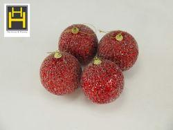 Harmony & Homes Balls - 10cm Red Glittered w/ Beads Polyfoam Christmas Ball (2-Piece/Pvc) Set of 2