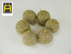 Harmony & Homes Balls - 8cm Gold Beaded Polyfoam Christmas Ball (3-Piece/Pvc) Set of 2