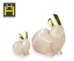 Harmony & Homes Ceramic - Pink Bunny Rabbit Figurine  (Set of 2)