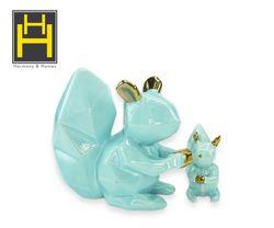 Harmony & Homes Ceramic - Blue Squirrel Figurine (Set of 2)