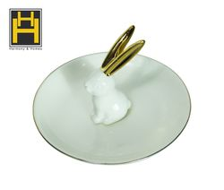 Harmony & Homes Porcelain - Bunny Rabbit Jewelry Ring Dish Holder