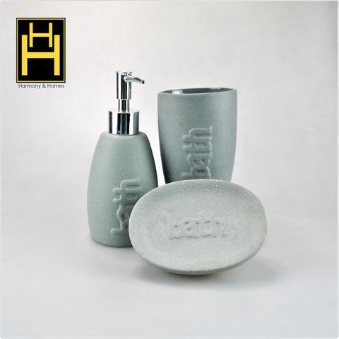 Harmony & Homes Ceramic - Bathroom Accessories  (Set of 3)