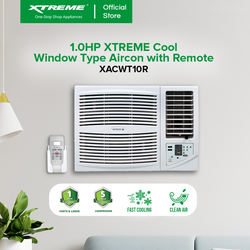 XTREME COOL 1.0HP Non-inverter Side Discharge High-Efficiency Window Type Air Conditioner with Temperature Control Display with Timer Multiple Fan Speeds and Remote Control (White) (XACWT10R)