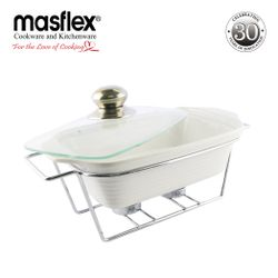 Masflex 11.5 Inch / 1.5 liter Glass Rectangular Casserole With Candle Stand L29 cm x W18 cm x H7 cm Durable High Quality Pure Glass
